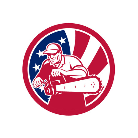 Icon retro style illustration of an American lumberjack arborist or tree surgeon holding a chainsaw with United States of America USA star spangled banner or stars and stripes flag in circle isolated.