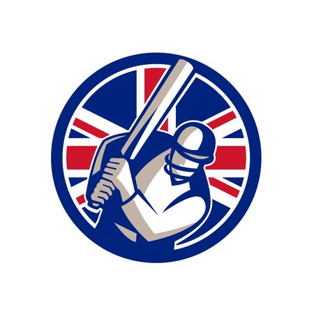 Icône de style rétro illustration d'un joueur de batteur de cricket britannique frappant avec une batte et avec le Royaume-Uni Royaume-Uni, la Grande-Bretagne Union Jack flag situé à l'intérieur du cercle sur fond isolé. Banque d'images - 99683984