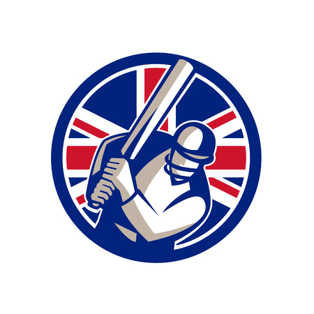 Icon retro style illustration of a British cricket batsman player batting with bat and with United Kingdom UK, Great Britain Union Jack flag set inside circle on isolated background. Illustration