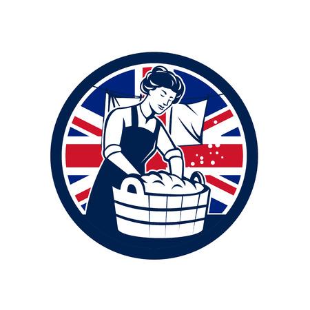 Icon retro style illustration of a vintage British housewife washing laundry with United Kingdom UK, Great Britain Union Jack flag set inside circle on isolated background.