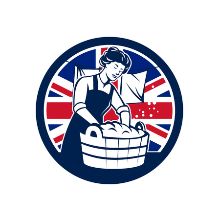 Icon retro style illustration of a vintage British housewife washing laundry with United Kingdom UK, Great Britain Union Jack flag set inside circle on isolated background.