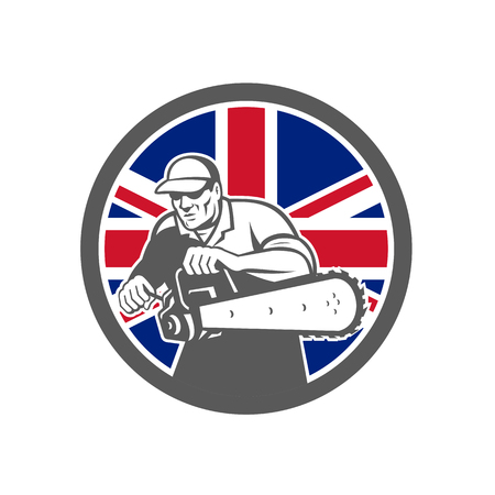 Icon retro style illustration of a British arborist, tree surgeon or lumberjack holding a chainsaw with United Kingdom UK, Great Britain Union Jack flag set inside circle on isolated background.
