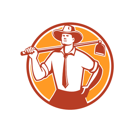 Retro style illustration of an urban farmer looking forward wearing a neck tie and cowboy hat holding a grab hoe on shoulder set inside circle on isolated background.