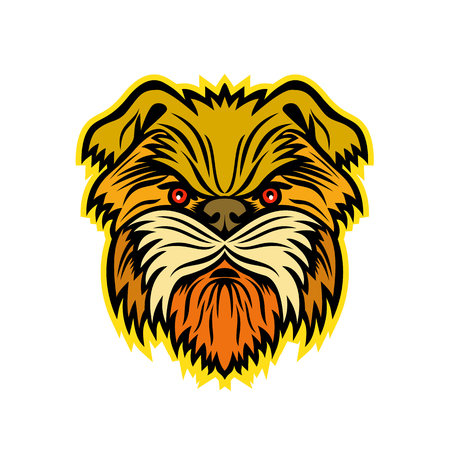 Mascot icon illustration of head of an Affenpinscher, Monkey Terrier, Affen, Affie or Monkey Dog, a terrier-like toy breed of dog viewed from front on isolated background in retro style.