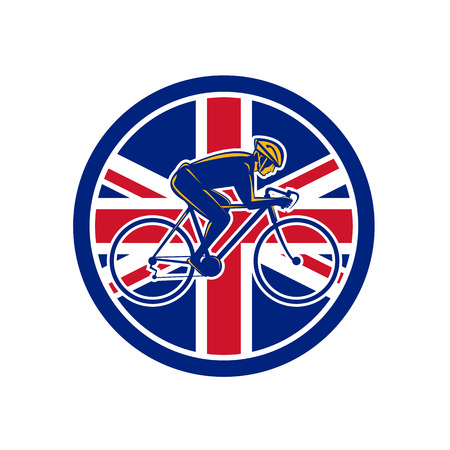 Icon retro style illustration of a British cyclist cycling riding a racing road bicycle viewed from side with United Kingdom UK, Great Britain Union Jack flag set inside circle on isolated background.