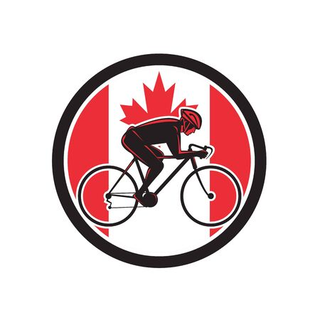Icon retro style illustration of a Canadian cyclist cycling riding a racing road bicycle viewed from side with Canada maple leaf flag set inside circle on isolated background.
