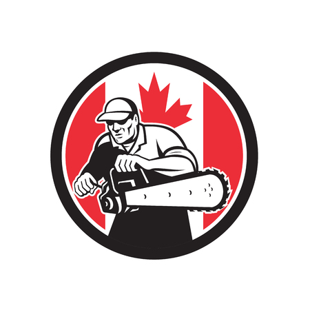 Icon retro style illustration of a Canadian tree surgeon or lumberjack holding a chainsaw with Canada maple leaf flag set inside circle on isolated background.