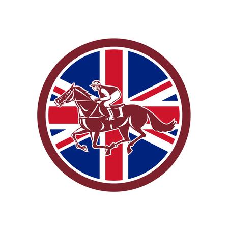 英国の英国と並んで見た英国の騎手や馬術競馬のアイコンレトロなスタイルのイラストは、孤立した背景に円の内側に設定された英国連合ジャック  イラスト・ベクター素材