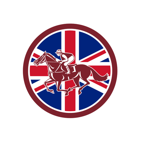Icon retro style illustration of a British jockey or equestrian horse racing viewed from side with United Kingdom UK, Great Britain Union Jack flag set inside circle on isolated background.