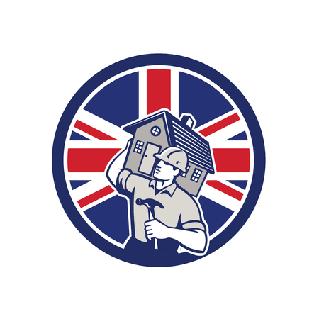 Icon retro style illustration of a British building contractor, builder, handyman, carpenter carrying house with United Kingdom UK, Great Britain Union Jack flag set inside circle isolated background. Illustration