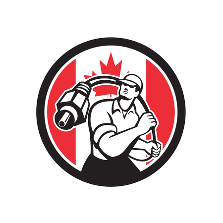 Icon retro style illustration of a Canadian cable installer guy holding RCA plug cable with Canada maple leaf flag set inside circle on isolated background.