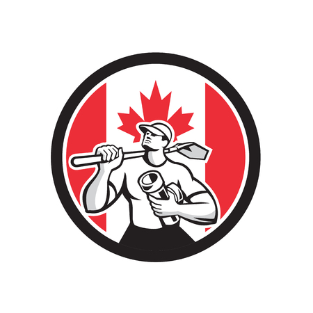 Icon retro style illustration of a Canadian drainlayer, drainage specialist or construction worker holding shovel and pipe with Canada maple leaf flag set inside circle on isolated background. Illustration