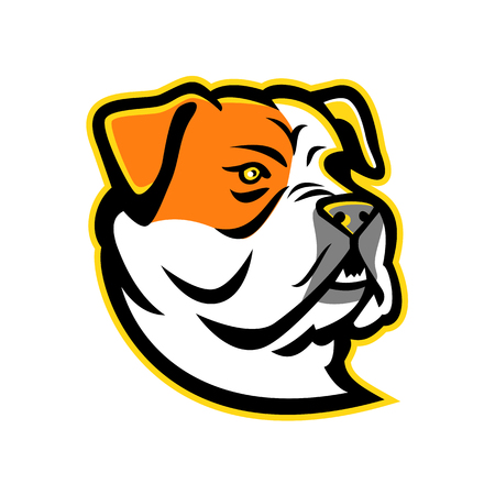 Mascot icon illustration of head of a bully type American Bulldog, a breed of utility dog viewed from side on isolated background in retro style.