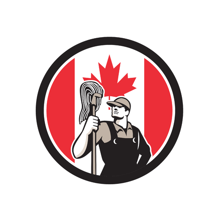 Icon retro style illustration of a Canadian professional industrial cleaner or cleaning services worker holding mop with Canada maple leaf flag set inside circle on isolated background. Illustration