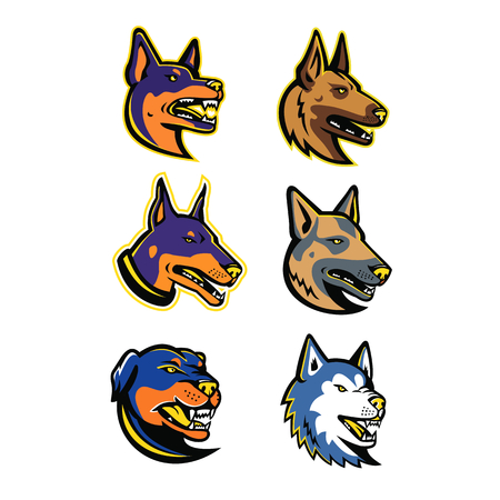 Mascot icon illustration set of heads of guard dogs isolated background in retro style.
