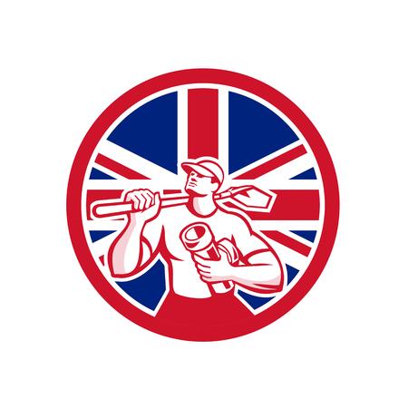 Icon retro style illustration of a British drainlayer set inside circle. Illustration