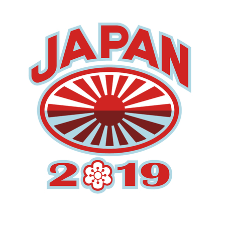Retro style illustration of a rugby ball with Japanese flag rising sun set inside rugby ball with words Japan 2019 and sakura or cherry blossom flower in number zero on isolated background. Illustration