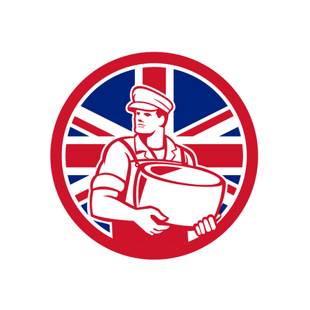 Icon retro style illustration of a British artisan cheese maker or cheese maker holding Parmesan cheese.