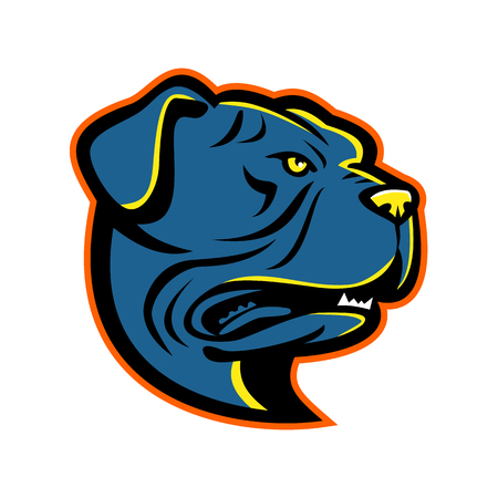 Mascot icon illustration of head of a Leavitt Bulldog looking up viewed from side on isolated background in retro style.