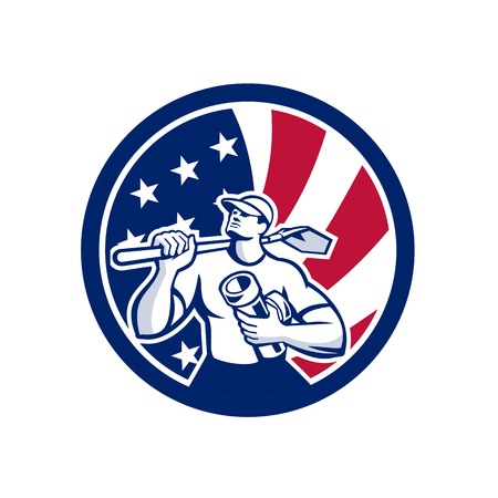 Icon retro style illustration of an American drainlayer flag.