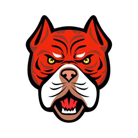 Mascot icon illustration of head of an angry Red Tiger Bulldog, an American dog breed with red nose viewed from front on isolated background in retro style.
