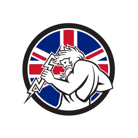 Icon retro style illustration of Greek god Zeus, god of sky and thunder holding thunderbolt  with United Kingdom UK, Great Britain Union Jack flag set inside circle on isolated background. Standard-Bild - 100547509
