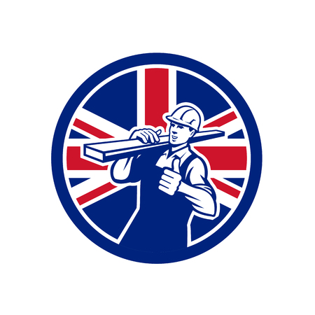 Icon retro style illustration of a British lumberyard worker carrying timber on shoulder with thumbs up.