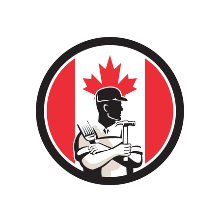 Icon retro style illustration of a Canadian DIY Expert, handyman, carpenter, DIYer or renovator with tools with Canada maple leaf flag set inside circle on isolated background.