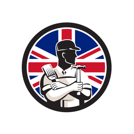 Icon retro style illustration of a British DIY Expert set inside circle on isolated background.  イラスト・ベクター素材