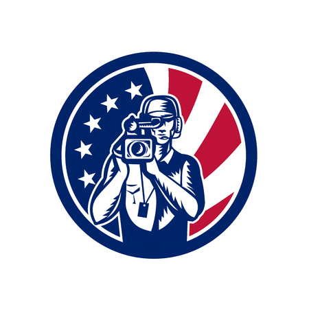 Icon retro style illustration of an American cameraman or camera operator for motion pictures, film or television with United States of America USA star spangled banner flag inside circle. Illustration