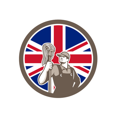 Icon retro style illustration of a British professional industrial cleaner or cleaning services worker holding mop with United Kingdom UK, Great Britain Union Jack flag set inside circle.