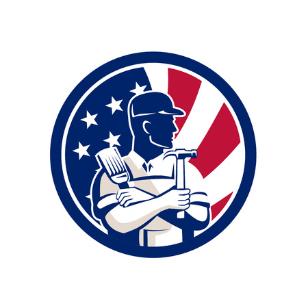 Icon retro style illustration of an American DIY Expert Banque d'images - 100547525