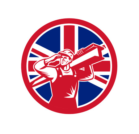Icon retro style illustration of a British construction worker carrying an I-beam on shoulder Иллюстрация