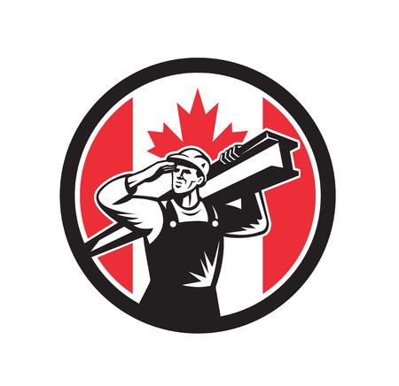 Icon retro style illustration of a Canadian construction worker carrying an I-beam on shoulder with Canada maple leaf flag set inside circle on isolated background.