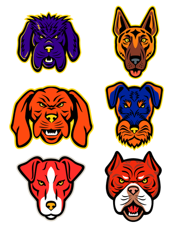 Mascot icon illustration set of heads of working or hunting dogs isolated background in retro style.