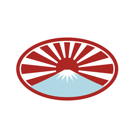 Icon retro style illustration of a snow capped mountain  that looks like Mount Fuji with Japanese rising sun in back set inside oval shape on isolated background. Illustration