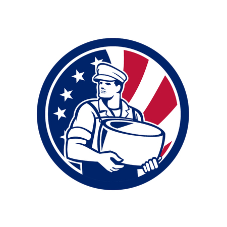 Icon retro style illustration of an American artisan cheese maker or cheese maker holding Parmesan cheese.