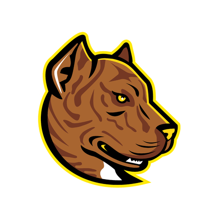 Mascot icon illustration of head of a Spanish Bulldog or Alano Espanol dog, a large breed of dogs of the molosser type, viewed from side on isolated background in retro style. Иллюстрация