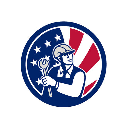 Icon retro style illustration of an American mechanical engineer holding a spanner with United States of America USA star spangled banner or stars and stripes flag inside circle isolated background. Illustration