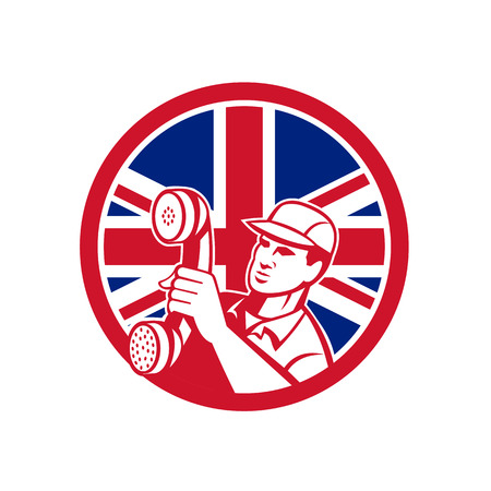 Icon retro style illustration of a British  telephone installation repair technician or  repairman holding phone  with United Kingdom UK, Great Britain Union Jack flag set inside circle on isolated background.