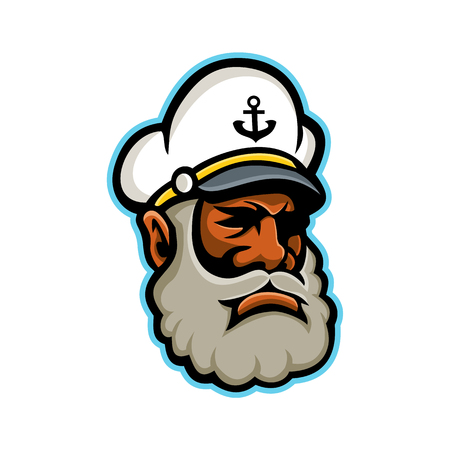 Mascot icon illustration of head of a black skipper or sea captain, ships captain, captain, master or shipmaster, a mariner in command of merchant vessel viewed from side on isolated background in re 일러스트