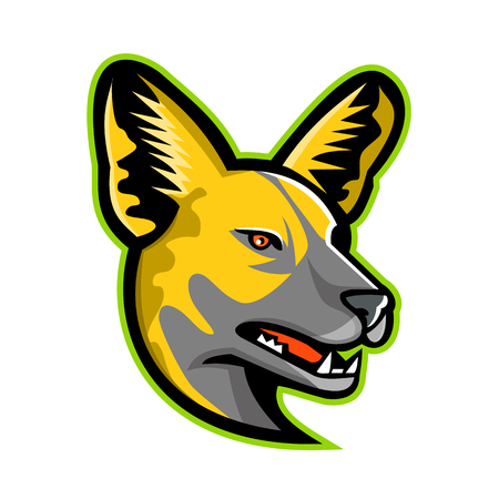 Sports mascot icon illustration of head of an African wild dog, African hunting dog, African painted dog, painted hunting dog, or painted wolf, a canid native to Sub-Saharan Africa, viewed from sided