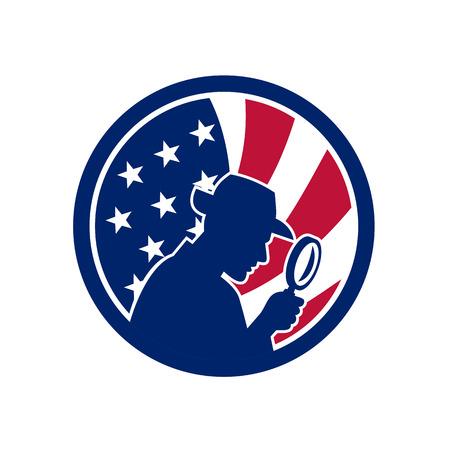 Icon retro style of an American private investigator Stok Fotoğraf - 100968875