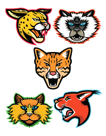 Sports mascot head icon set Illustration