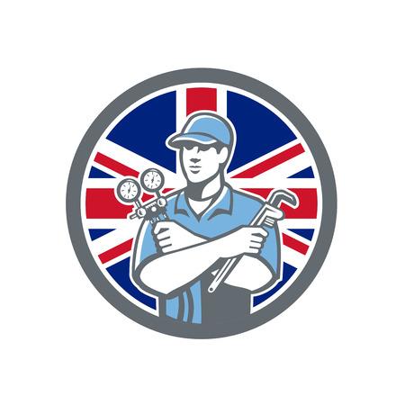 Icon retro style of a British Refrigeration Mechanic