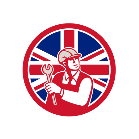 Icon retro style of a British mechanical engineer holding a spanner Illustration