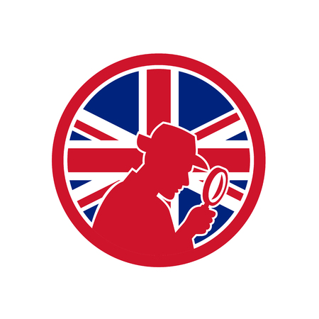 Icon retro style of a British private investigator
