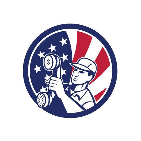 Icon retro style of an American telephone repair technician Çizim