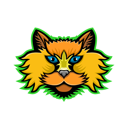 Sports mascot icon of head of a Selkirk Rex