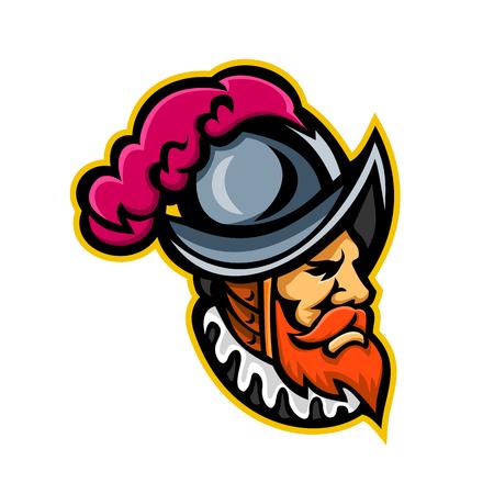 Mascot icon of a Spanish Conquistador Vector Illustration